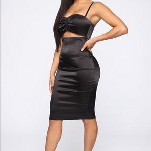 Black cut out satin dress size Small